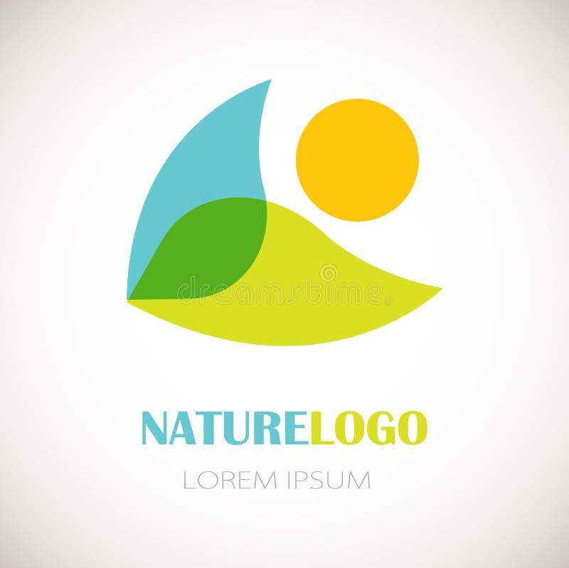 Λογότυπο φύσης - φρέσκο πράσινο φύλλο, μπλε νερό και πορτοκαλιά στοιχεία ήλιων στο λευκό ελεύθερη απεικόνιση δικαιώματος