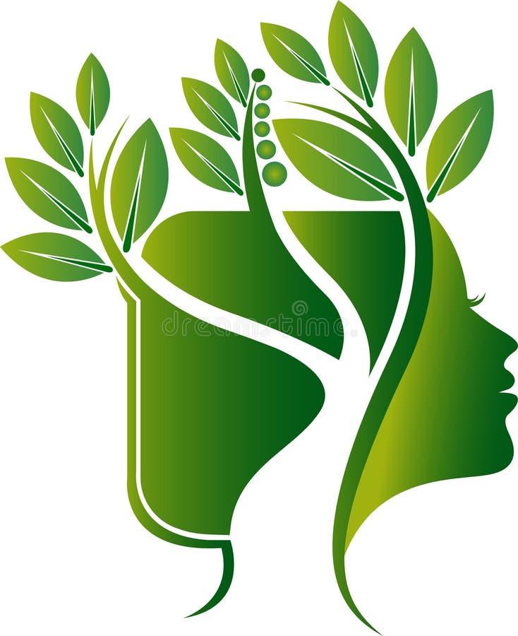 Λογότυπο φύλλων προσώπου δέντρων διανυσματική απεικόνιση