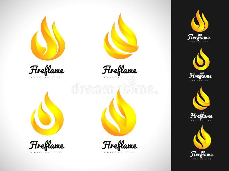 Λογότυπο φλογών πυρκαγιάς τρισδιάστατη έννοια λογότυπων πυρκαγιάς Εικονίδιο φλογών ελεύθερη απεικόνιση δικαιώματος