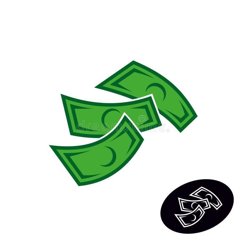Λογότυπο χρημάτων Μειωμένη ή πετώντας απλή απεικόνιση σημειώσεων δολαρίων ελεύθερη απεικόνιση δικαιώματος