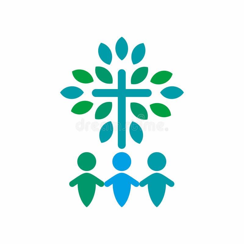 Λογότυπο χριστιανικών εκκλησιών Ενωμένος από την πίστη στο Θεό ελεύθερη απεικόνιση δικαιώματος