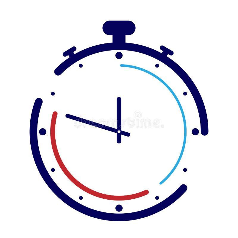 Λογότυπο χρονομέτρων με διακόπτη Θέμα του χρόνου, του αθλητισμού και του ανταγωνισμού απεικόνιση αποθεμάτων