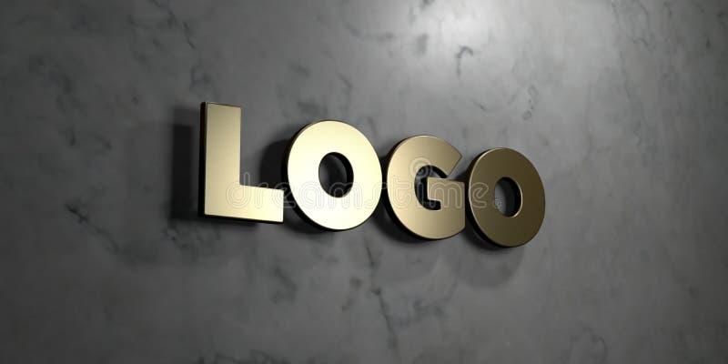 Λογότυπο - χρυσό σημάδι που τοποθετείται στο στιλπνό μαρμάρινο τοίχο - τρισδιάστατο δικαίωμα ελεύθερη απεικόνιση αποθεμάτων διανυσματική απεικόνιση