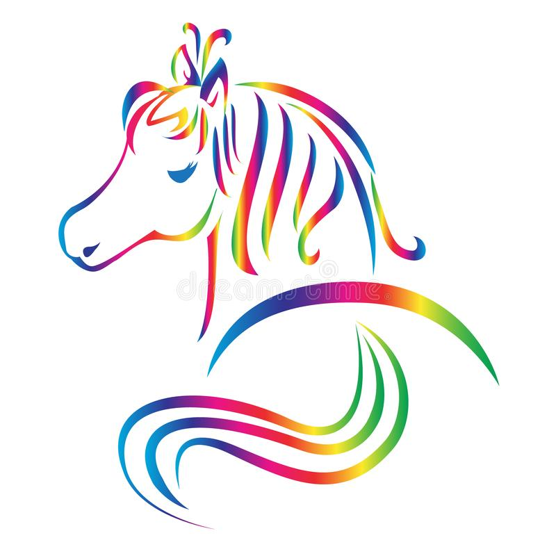 Λογότυπο χρώματος ουράνιων τόξων αλόγων διανυσματική απεικόνιση