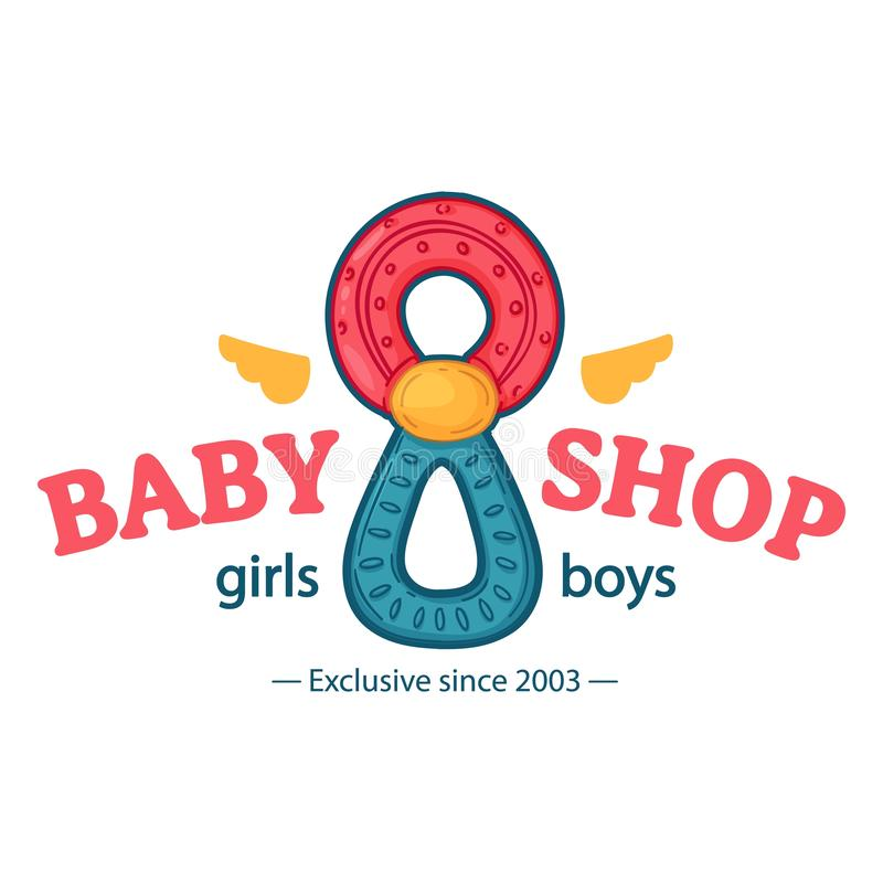 Λογότυπο χρώματος σχεδίου Templae για το κατάστημα μωρών Σύμβολο, ετικέτα και διακριτικό για το κατάστημα παιδιών με τη νεογέννητ διανυσματική απεικόνιση