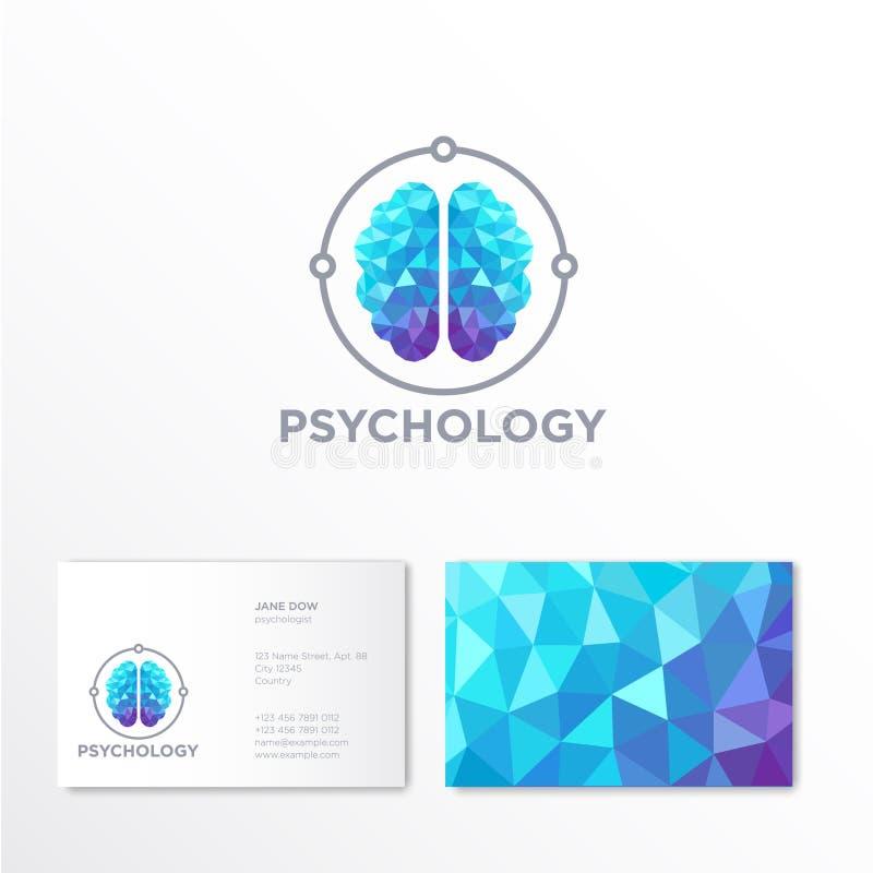 Λογότυπο ψυχολογίας Έμβλημα εγκεφάλου κρυστάλλου ταυτότητα οικονομική σειρά επαγγελματικών καρτών ελεύθερη απεικόνιση δικαιώματος