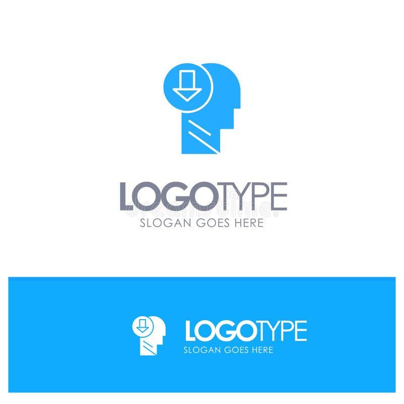 Λογότυπο Arrow, Head, Human, Knowledge, Down Blue Solid με θέση για το tagline διανυσματική απεικόνιση