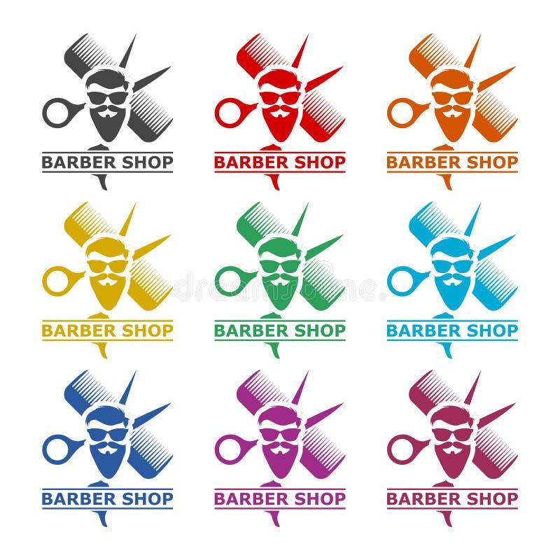 Λογότυπο Barbershop, εικονίδιο καταστημάτων κουρέων, σύνολο χρώματος απεικόνιση αποθεμάτων