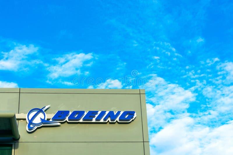 Λογότυπο Boeing στο κτίριο γραφείων Boeing HorizonX, Boeing NeXt, Aurora Flight Sciences στη Silicon Valley στοκ φωτογραφία με δικαίωμα ελεύθερης χρήσης