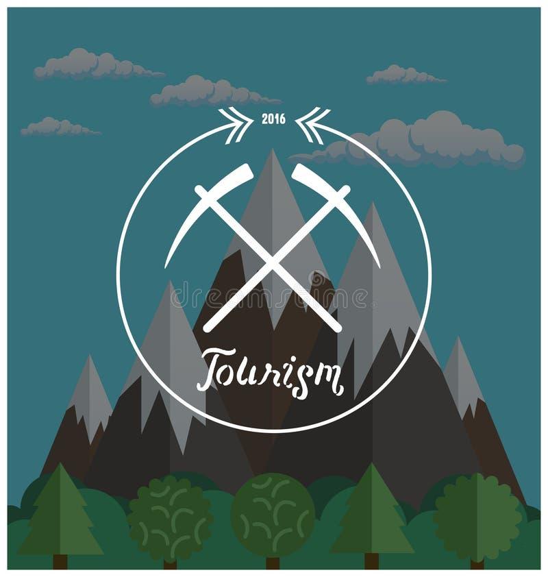 Λογότυπο Hipster Έννοια καλοκαιρινό εκπαιδευτικό κάμπινγκ με το τοπίο φύσης βουνών ελεύθερη απεικόνιση δικαιώματος