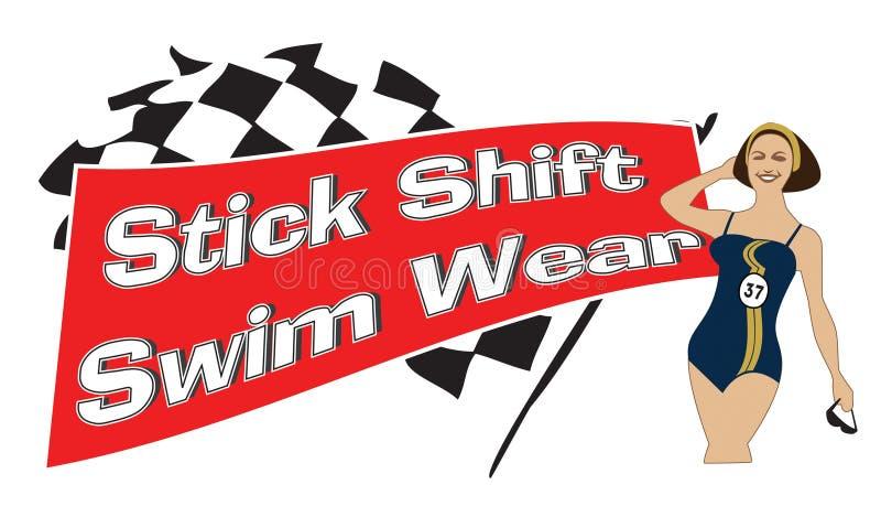 λογότυπο Swimwear ύφους της δεκαετίας του '60 διανυσματική απεικόνιση