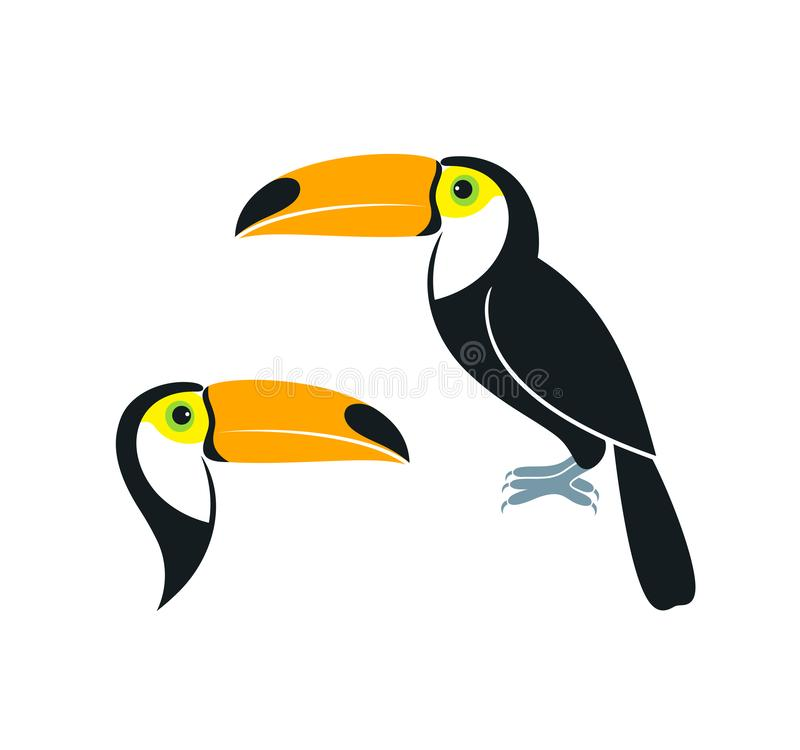 λογότυπο toucan Απομονωμένος toucan στο άσπρο υπόβαθρο διανυσματική απεικόνιση