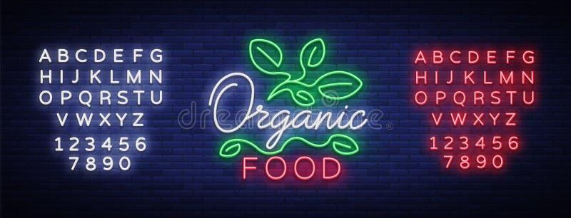 Λογότυπο Vegan στο ύφος νέου Σύμβολο νέου, φωτεινό φωτεινό σημάδι, νύχτα νέου που διαφημίζει, χορτοφάγα τρόφιμα, οργανικά τρόφιμα διανυσματική απεικόνιση