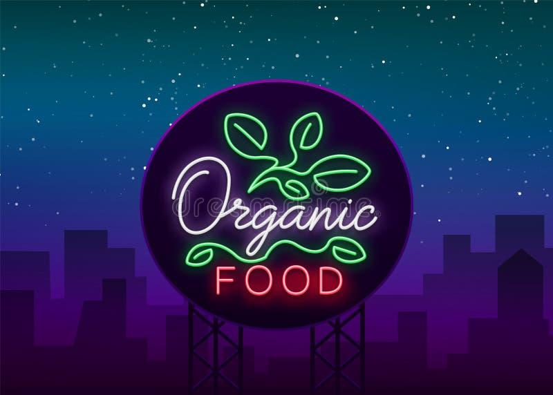 Λογότυπο Vegan στο ύφος νέου Σύμβολο νέου, φωτεινό φωτεινό σημάδι, νύχτα νέου που διαφημίζει στο θέμα των χορτοφάγων τροφίμων ελεύθερη απεικόνιση δικαιώματος