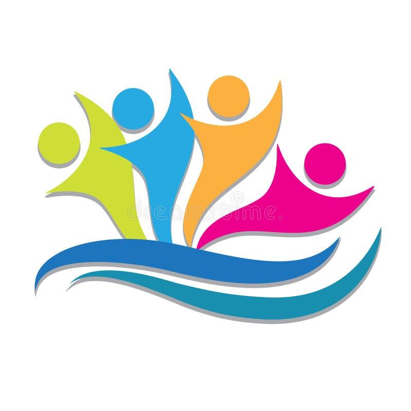 Λογότυπων διανυσματική απεικόνιση επιχειρηματιών ομαδικής εργασίας ευτυχής απεικόνιση αποθεμάτων