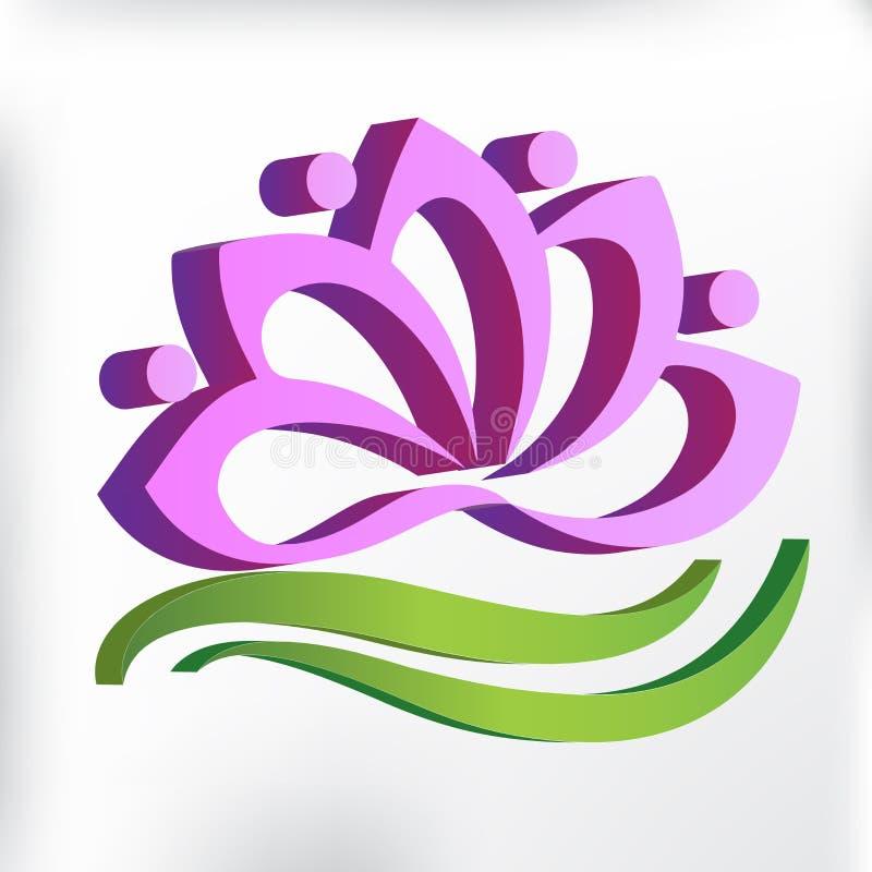 Λογότυπων ρόδινο σύμβολο ομαδικής εργασίας λουλουδιών λωτού τρισδιάστατο γραφικού σχεδίου απεικόνισης εικόνας γιόγκας του διανυσμ διανυσματική απεικόνιση