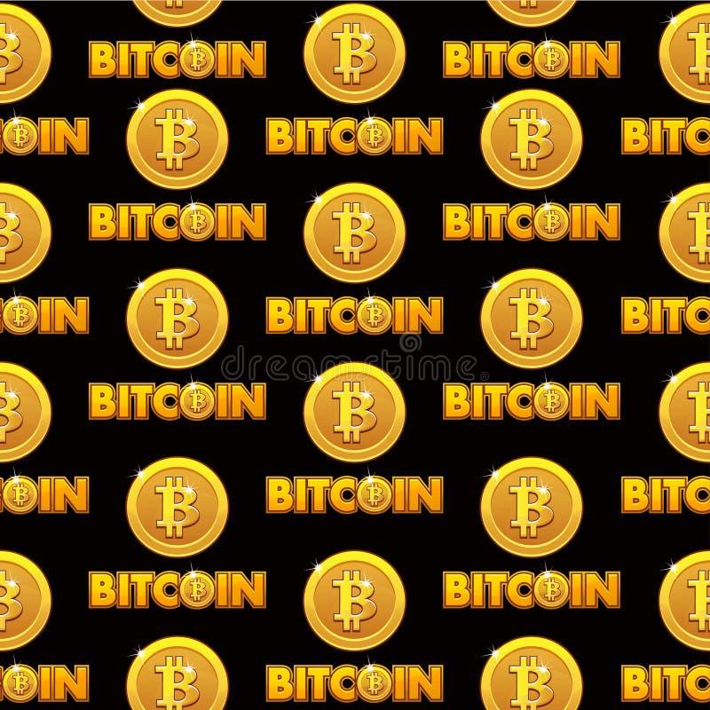 Λογότυπων Bitcoin χρυσά νομίσματα υποβάθρου σχεδίων απεικόνισης άνευ ραφής που απομονώνονται με το σημάδι bitcoin Cryptocurrency  διανυσματική απεικόνιση