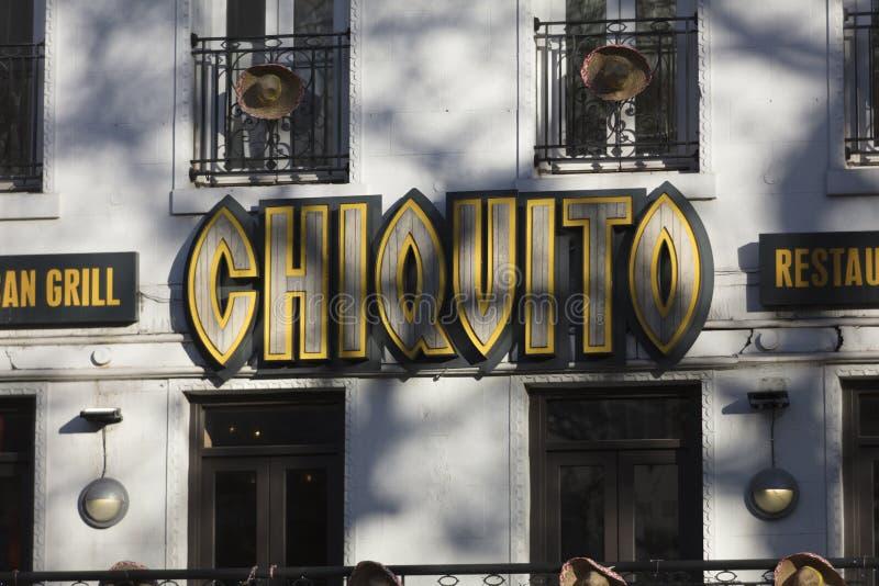 Λονδίνο, μεγαλύτερο Λονδίνο, Ηνωμένο Βασίλειο, στις 7 Φεβρουαρίου 2018, σημάδι Α και λογότυπο για την πλατεία Chiquito Λέιτσεστερ στοκ φωτογραφία