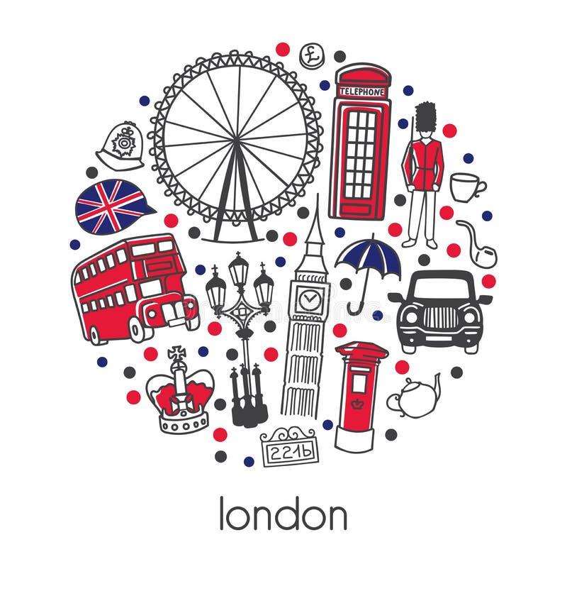 Λονδίνο Σύγχρονη διανυσματική απεικόνιση με τα διάσημα αγγλικά σύμβολα και έλξη με τα κόκκινα, μπλε, μαύρα σημεία σε μια σύνθεση  απεικόνιση αποθεμάτων