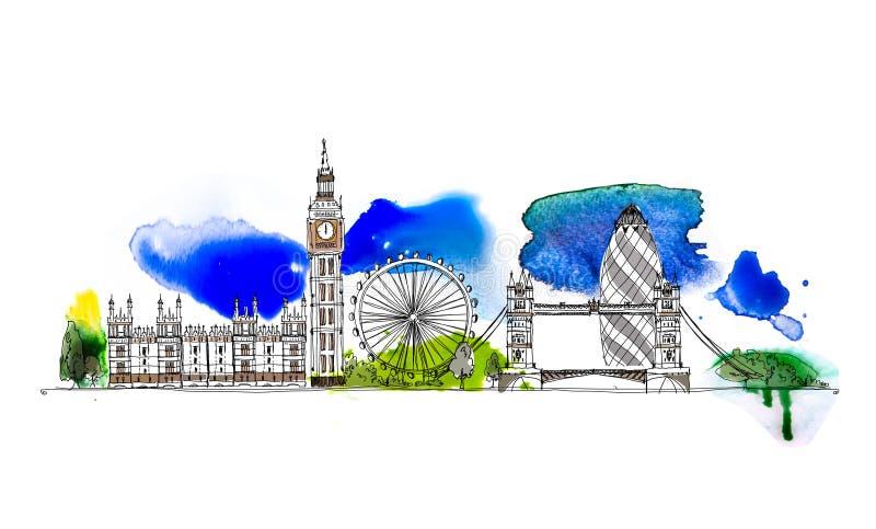 Λονδίνο, Big Ben, σπίτια της απεικόνισης του Κοινοβουλίου Σκίτσο με τη ζωηρόχρωμη επίδραση υδατοχρώματος απεικόνιση αποθεμάτων