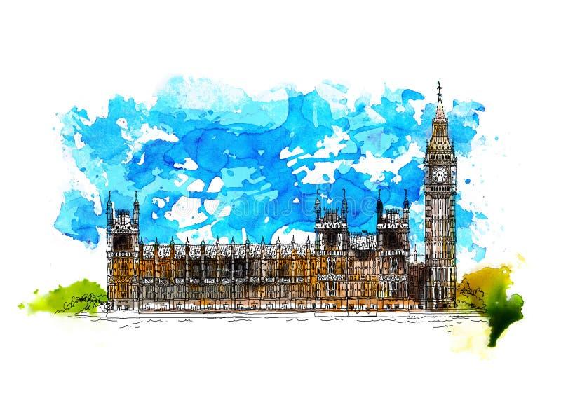 Λονδίνο, Big Ben, σπίτια της απεικόνισης του Κοινοβουλίου Σκίτσο με τη ζωηρόχρωμη επίδραση υδατοχρώματος διανυσματική απεικόνιση