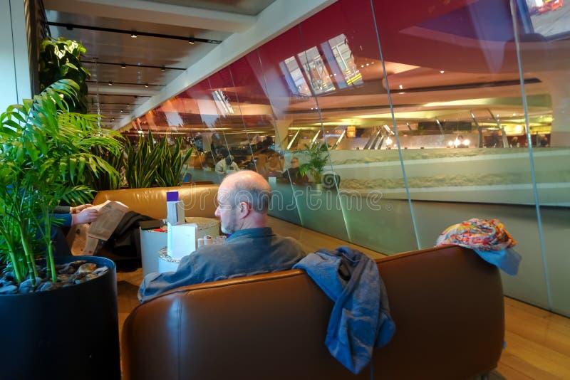 Λονδίνο Heathrow, 16/01/2019 - ατλαντικό σαλόνι της Virgin στοκ εικόνα