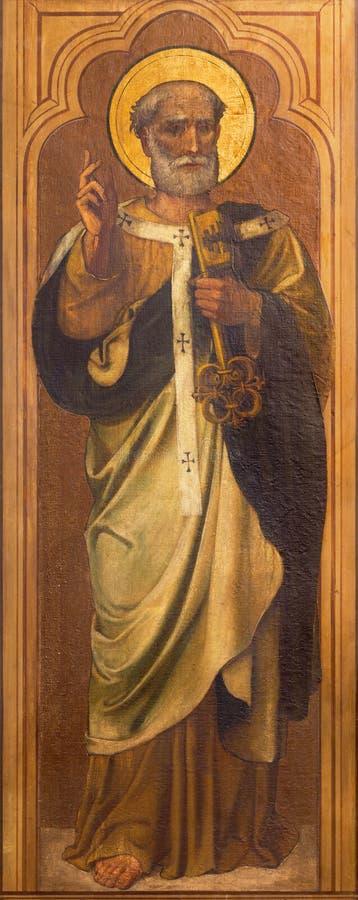 ΛΟΝΔΙΝΟ, ΜΕΓΑΛΗ ΒΡΕΤΑΝΊΑ - 17 ΣΕΠΤΕΜΒΡΊΟΥ 2017: Η ζωγραφική του ST Peter ο απόστολος στην εκκλησία ST Marys Cadogan, οδός στοκ εικόνες