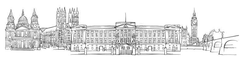 Λονδίνο, Ηνωμένο Βασίλειο, σκίτσο πανοράματος διανυσματική απεικόνιση