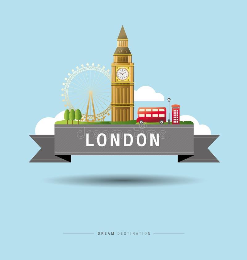 Λονδίνο και Big Ben, Αγγλία, ορόσημο, ταξίδι διανυσματική απεικόνιση