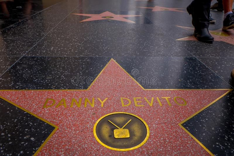 Λος Άντζελες, Καλιφόρνια, ΗΠΑ, 15 ΙΟΥΝΊΟΥ, 2018: Υπαίθρια άποψη του αστεριού του Danny Devito στον περίπατο Hollywood της φήμης,  στοκ εικόνα με δικαίωμα ελεύθερης χρήσης