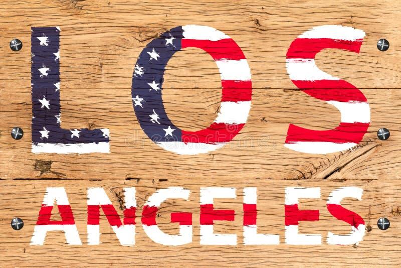 Λος Άντζελες που χρωματίζεται με σχέδιο της σημαίας Ηνωμένες Πολιτείες παλαιό δρύινο W στοκ εικόνες