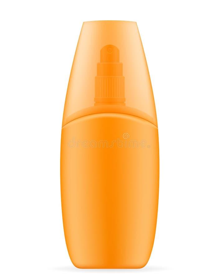 Λοσιόν κρέμας ήλιων sunblock suntan σε ένα πλαστικό εμπορευματοκιβώτιο απεικόνιση αποθεμάτων