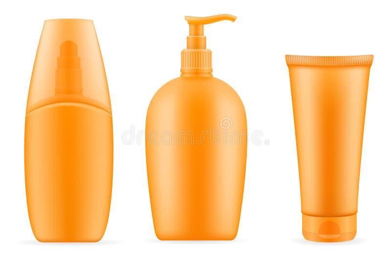 Λοσιόν κρέμας ήλιων sunblock suntan σε ένα πλαστικό εμπορευματοκιβώτιο ελεύθερη απεικόνιση δικαιώματος