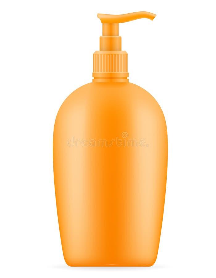 Λοσιόν κρέμας ήλιων sunblock suntan σε ένα πλαστικό εμπορευματοκιβώτιο packagin απεικόνιση αποθεμάτων