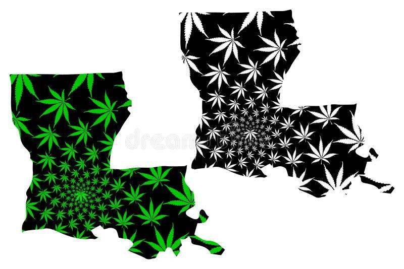 Λουιζιάνα - ο χάρτης είναι σχεδιασμένο φύλλο καννάβεων ελεύθερη απεικόνιση δικαιώματος