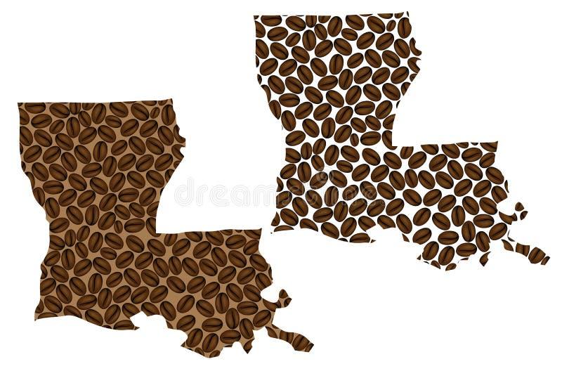 Λουιζιάνα - χάρτης του φασολιού καφέ ελεύθερη απεικόνιση δικαιώματος
