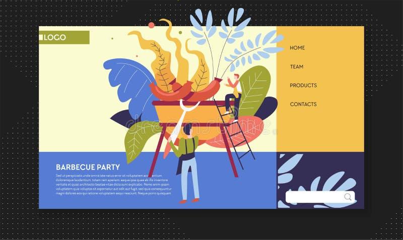 Λουκάνικα θερινής υπαίθρια δραστηριότητας κομμάτων σχαρών μαγειρεύοντας στη σχάρα διανυσματική απεικόνιση