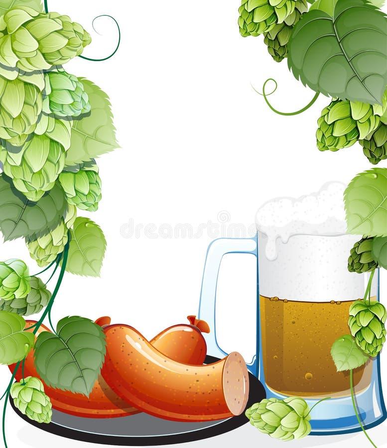 Λουκάνικα και κούπα της μπύρας με τους λυκίσκους διανυσματική απεικόνιση