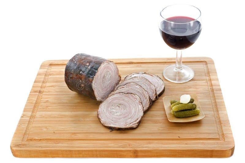 Λουκάνικο Andouille και κόκκινο κρασί στοκ φωτογραφίες με δικαίωμα ελεύθερης χρήσης