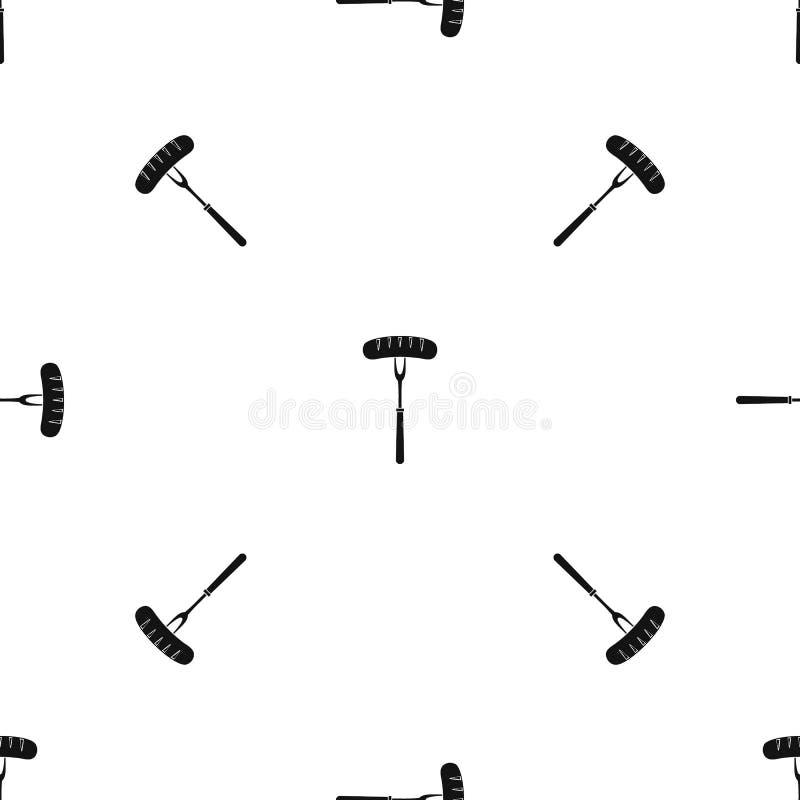 Λουκάνικο bbq στον άνευ ραφής Μαύρο σχεδίων δικράνων απεικόνιση αποθεμάτων