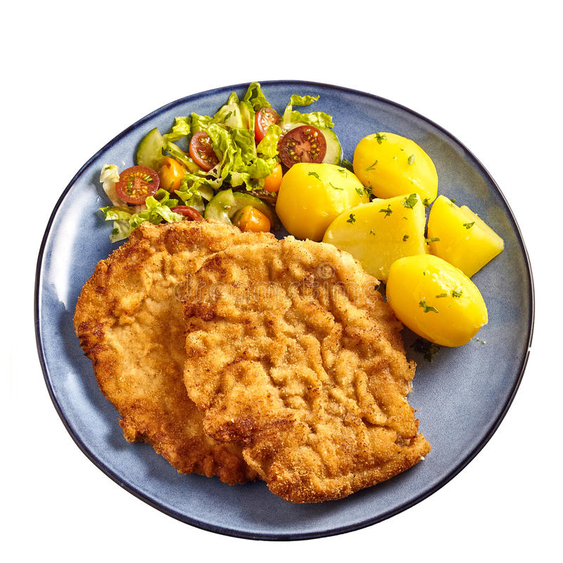 Λουκάνικο schnitzel με τις βρασμένες πατάτες στοκ φωτογραφία με δικαίωμα ελεύθερης χρήσης