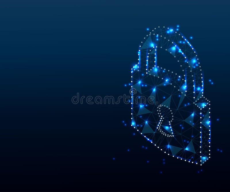 Λουκέτο, κλειδαριά, τρισδιάστατος, πολύγωνο, μπλε ασφάλεια 3, χρηματοκιβώτιο, μυστικότητα ή απεικόνιση ή υπόβαθρο έννοιας διανυσματική απεικόνιση