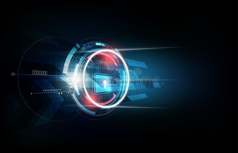 Λουκέτο με την έννοια κλειδαριών ασφάλειας και το φουτουριστικό ηλεκτρονικό υπόβαθρο τεχνολογίας, διανυσματική απεικόνιση ελεύθερη απεικόνιση δικαιώματος