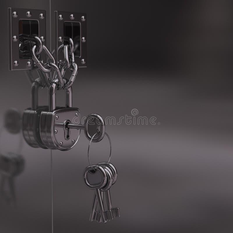 λουκέτο πορτών αλυσίδων ελεύθερη απεικόνιση δικαιώματος