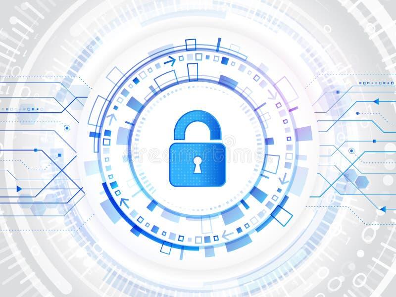 Λουκέτο Cyber για την προστασία Διαδικτύου Υπεράσπιση στοιχείων υπολογιστών Ασφάλεια παγκόσμιων δικτύων Αφηρημένο ψηφιακό επιχειρ απεικόνιση αποθεμάτων