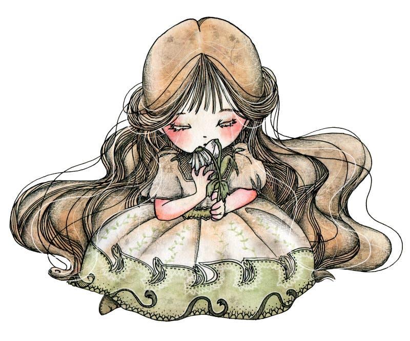 ΛΟΥΛΟΥΔΙΑ της ΜΙΚΡΗΣ IDA - Ida με τα λουλούδια διανυσματική απεικόνιση