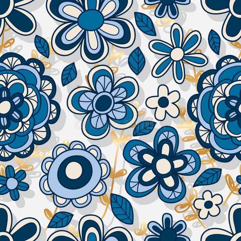 Λουλουδιών άνευ ραφής σχέδιο υποβάθρου ύφους κάθετο χρυσό διανυσματική απεικόνιση
