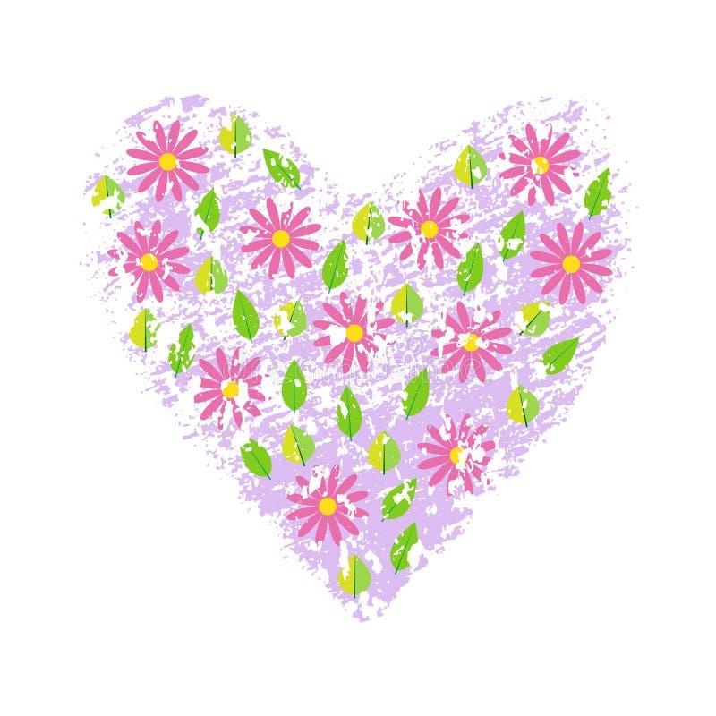 Λουλούδια άνοιξη στο κατασκευασμένο υπόβαθρο καρδιών grunge επίσης corel σύρετε το διάνυσμα απεικόνισης διανυσματική απεικόνιση