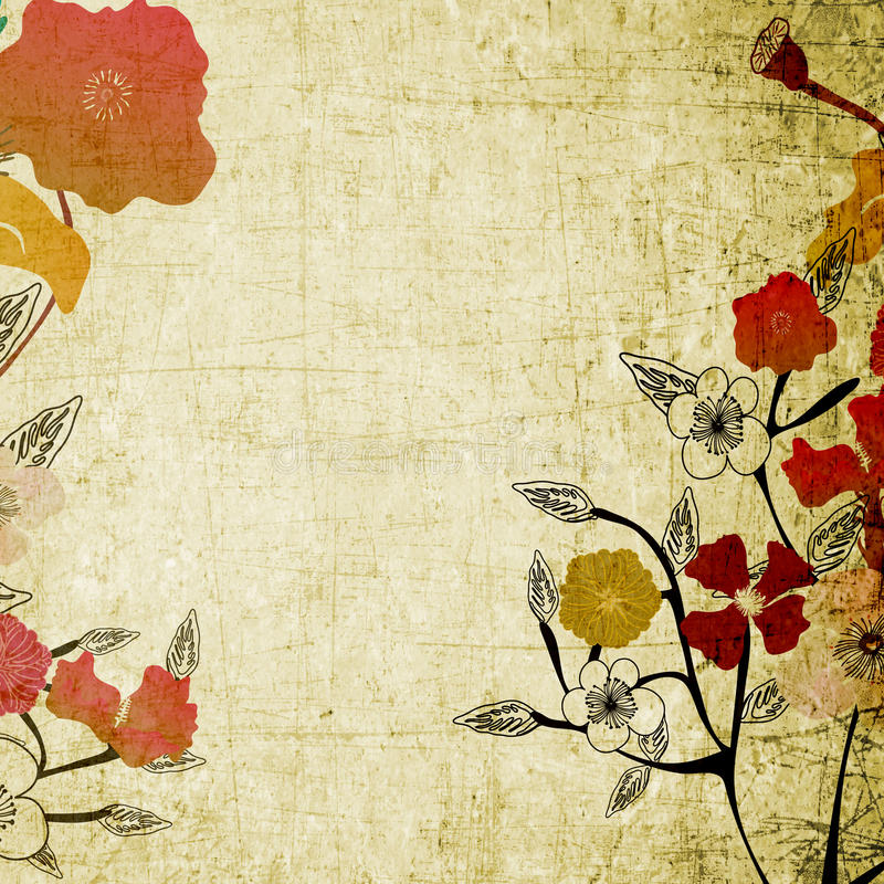 λουλούδια αναδρομικά διανυσματική απεικόνιση