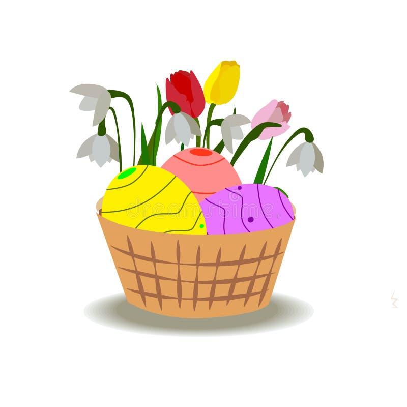 λουλούδια αυγών Πάσχας &k διανυσματική απεικόνιση